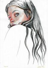 original painting A3 80HO art samovar Realism Watercolor female portrait Signed