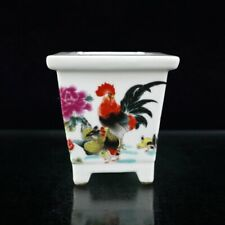 Chinese old porcelain Pastel Fu chicken pattern Quadrilateral Flower Pot