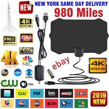 980 Miles Outdoor Flat HD Amplified TV Antenna with Amplified HDTV 1080P NY 13ft