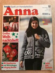 Anna 12/1996 Handarbeitszeitschrift -Spaß mit Handarbeiten, gut erhalten