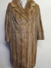 Vintage Genuine Mid Brown European Mink Fur long coat M UK 12 Euro 40