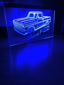 FORD F100 TRUCK LED NEON BLUE LIGHT SIGN 8x12
