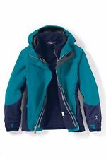 LANDS' END Little Girls S(4) Mosaic Teal 3-in-1 System Squall® Jacket NWT $149