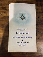 Freemasons installation program, NSW, Bondi 1967, autographed, 1960s, vintage