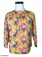 J.Crew Women's Size 2 Pullover Blouse Top Floral Yellow Pink Button Long Sleeve