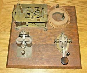 Vintage TELEGRAPH key on wood base Morse Code Trainer and Sounder