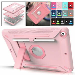 For iPad 10.2 8th 7th Gen Armor Protection Case Kickstand Cover with Pen Holder