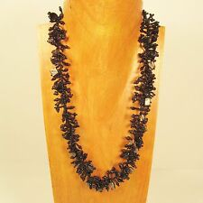 """22"""" Black Statement Stone Shell Chip Handmade Seed Bead Necklace FREE SHIPPING!!"""