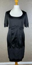 BASLER Damen Gr. 42 Stretch Satin Etui Kleid Spitze schwarz Cocktail Dress 42A