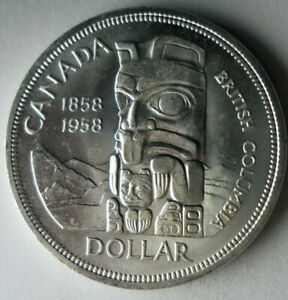 1958 CANADA DOLLAR - TOTEM POLE - AU/UNC - Great Silver Coin - Lot #A9