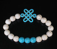 Turquoise White/Blue  Bracelet with White Chinese Knot