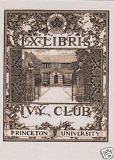 EX LIBRIS BOOKPLATE IVY CLUB PRINCETON UNIVERSITY
