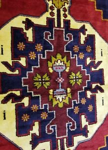 "Stunning Vintage 1950-1960s Vegy Dye Wool Pile Double Knotted Tribal Rug 4'9""x9'"