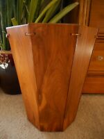 """1960's ?  Office Wood Garbage Can Leather Stringing Mid Century Modern 16"""" tall"""