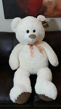 Kellytoy Original Tan Big Giant Stuffed Plush Teddy Bear With Bow 4ft Tall