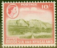 Rhodesia & Nyasaland 1959 10s Olive-Brown & Rose-Red SG30 V.F Very Lightly Mtd