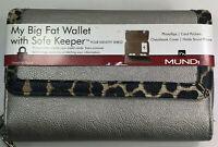 Mundi / My Big Fat Wallet / Silver/Faux Grain Leather/ Safe Keeper NIB / Reg $40