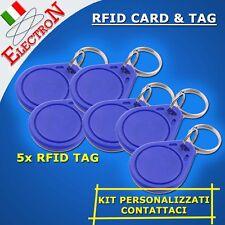 5x RFID CARD TAG 13.56 MHz KIT LETTORE TESSERA ACCESSO PORTACHIAVI ARDUINO IC ID