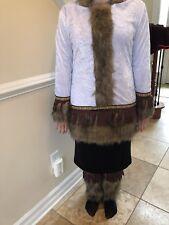 White Igloo Eskimo Woman Russian Coat Dress Adult  Med Womens Halloween Costume