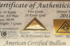 ACB GOLD PYRAMID 5GRAIN 24K SOLID BULLION MINTED BAR 99.99 FINE With COA =