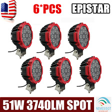 6x Red 51W Round Led Light Pod 7inch Spot Work Off Road Roof Bar Bumper Driving