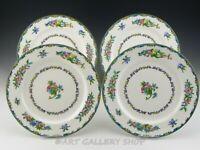 """Vintage Minton England B937 FLORAL 10-3/8"""" DINNER PLATES Set of 4"""