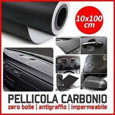 PELLICOLA CARBONIO 3D ADESIVA ADESIVO NERA 10X100 CM CAR WRAPPING AUTO MOTO