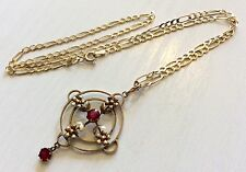 Beautiful Ladies Antique 9ct Gold Red Tourmaline Pendant On Vintage 9ct Chain