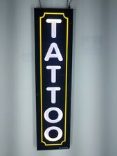 TATTOO Sign with yellow border,Led light box sign, White color 12x48x1.75 inc