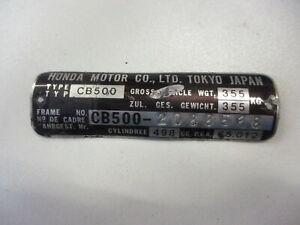 Honda CB 500 K Four Bj.75 Frame Number Shield Type Frame 2088598 Nameplate