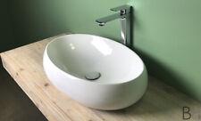 Lavabo da appoggio ovale bianco lucido moderno Cm 60x40.5 alta qualità NUVOLA