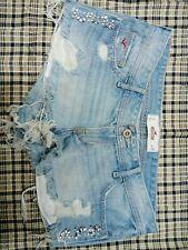 Hollister Short bling-Short Low Rise Womens Size 7 Cut off Blue Jean Shorts