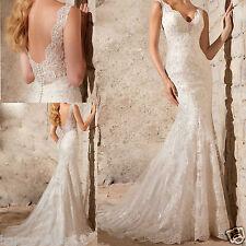 New V Neck Mermaid White/ivory Lace Wedding dress custom size 6-8-10-12-14-16-18