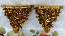 Wandkonsole Paar Barock Hängekonsole Wandregal Konsole Antik Stil Deko Blumen