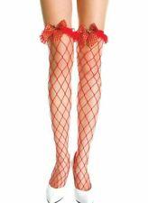 Red Tartan Ruffle Bell  Fishnet Stockings Cosplay Bridal Xmas Plaid Gold