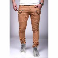 Cargo Jeans Pantaloni Braun Strappato Uomo Biker Jeans Denim Slim Fit Jeans Uomo