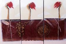 Quadro ad olio composto da 3 tele da cm 60x30 rose rosse tela dipinto no stampa
