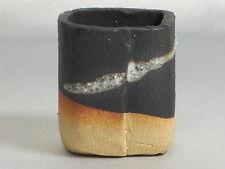 """Bonsai pot Shigaraki grès """"Carré Noir Mini"""" w5cm petites jardinières japonais"""