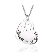 *UK* 925 SILVER PLT 'ALWAYS IN MY HEART' LOVE PAW PRINT LOSS OF DOG PET NECKLACE