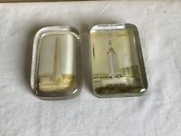 Vintage Mixed Lot Of 2 Travel Souvenir Glass Paperweights Bunker Hill