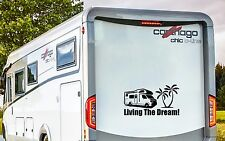 RV MOTORHOME CAMPER, LIVING THE DREAM, VINYL GRAPHICS STICKERS DECAL