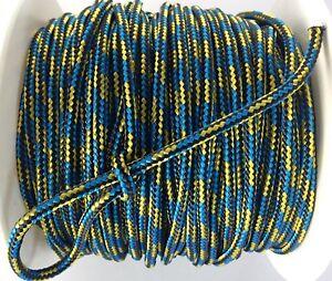 Reepschnur 2, 3 und 4 mm schwarz-gelb-blau PES Polyester geflochten Flechtkordel
