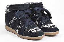 Isabel Marant Black & White Suede & Pony Hair Wedge Sneakers SZ 3, Designer Shoe