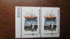 Scott #1420 PLATE BLOCK of 2 US Stamps 1970 6¢ Landing of the Pilgrims MNH OG
