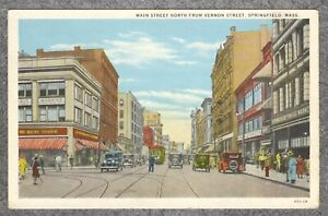 Vintage 1929 PC: Main Street North Moskins & Public Market Springfield MA