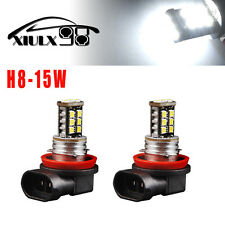 2x H8 15W 6000K HID White 15SMD LED 800LM Fog/Driving DRL Light Bulbs Headlight
