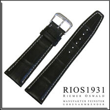 Thunderbird - Alligator Watch Band For Iw 19x16 mm Rios1931 for Panatime - Black
