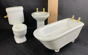 DOLLHOUSE PORCELAIN BATHROOM 3 PIECE SET WHITE