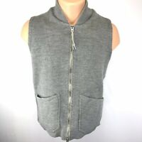 ARPENTEUR MD Mens Vest 100% Laine Wool Full Zipper Size M Gray 4 Pockets EUC