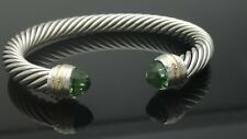 David Yurman Cable Classic Bracelet with Prasiolite and 14K Gold 7mm